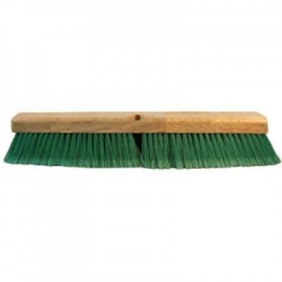 24 in Green Pet Plastic Push Broom Head Cleaning Tool Recycled PET Basement