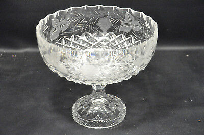 Large Brierley Hill Grapevine Pattern Lead Crystal Cut Glass Footed Tazza Bowl
