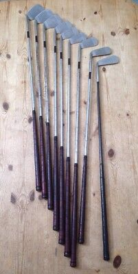 9x Vintage Golf Clubs - 2,3,4,5,6,7,8 Irons / 2x Putters - Leather Grips