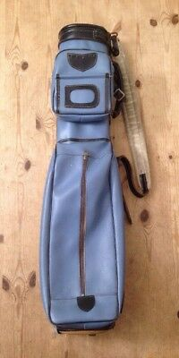 Vintage DOUGLAS Golf Bag / Light Blue Leatherette with Black Leather Detail