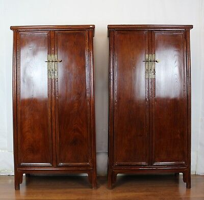 A Pair of Chinese Vintage Beech Wood  Ming Dynasty Style Noodle Cabinets