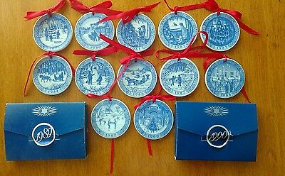 Royal Copenhagen Mini Christmas Plate Ornaments - set of 12 - 1979-1990