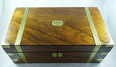 Antique Walnut Brass Bound Writing Box Slope With Fittings And Secret Drawers
