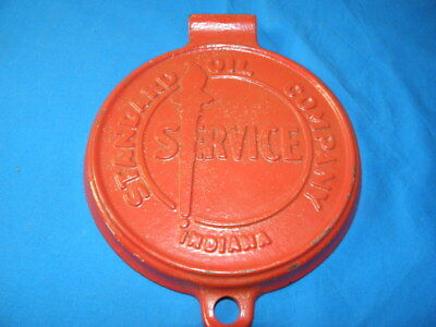 "Vintage Standard Oil Of Indiana Service Cast Iron Lid Sign 9"" Gas Metal Oil Can"