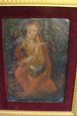 ANTIQUE Mexican Retablo Oil on Tin c.1880's SAINT OR PRIEST W/ SKULL & CROSS