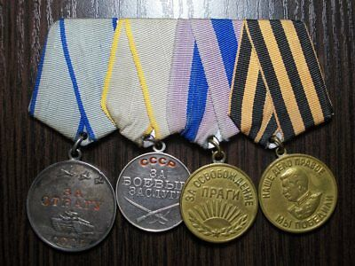 Set medals USSR, For courage, For services in battle, Prague,Victory