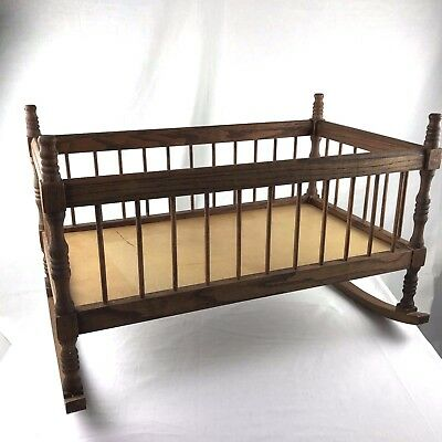Handmade Wooden Colonial Reproduction Baby Rocking Cradle Walnut Wood Stain