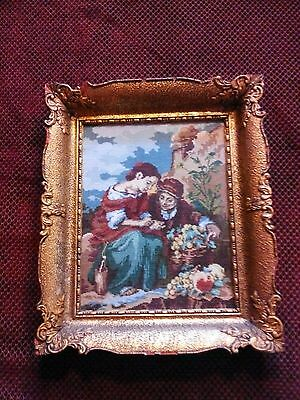 Exquisite Antique/Vintage Ornate Gold Timber Framed Tapestry Petit Point MURILLO