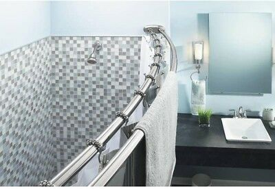 60 In Double Curved Shower Curtain Rod Adjustable Stainless Steel