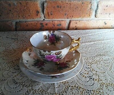 Vintage Antique TRIO: Three Footed Fine China Pearl Lustre Cup Set Made in Japan