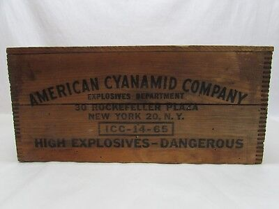 Vintage Wooden American Cyanamid Explosives Dangerous Advertising Box Crate