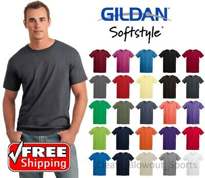 Gildan Softstyle T-Shirt Ring Spun Cotton Soft Mens Short Sleeve Blank New 64000