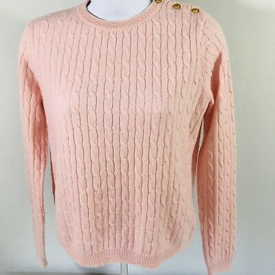 100% Cashmere Cable Crewneck Sweater Size XL Girls Pink