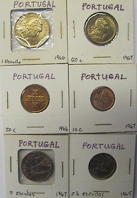 Lot of 6 PORTUGAL coins - 10,20,50 Centavos & 1,2 1/2,5 Escudos UNCIRCULATED