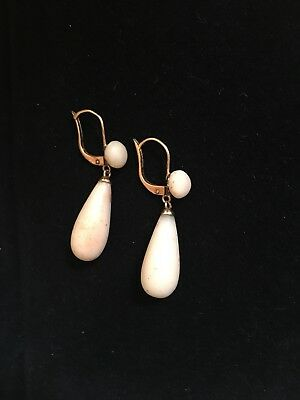 Gorgeous Antique Victorian 18K  Gold & Salmon Coral Earrings