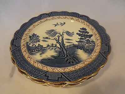 Booths China - Real Old Willow- Set of 4 Dinner Plates -Gold Trim Scalloped Edge