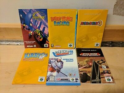 Lot Of Six N64 Manuals - Kirby, Diddy Kong, Mario Party - Free Us Shipping
