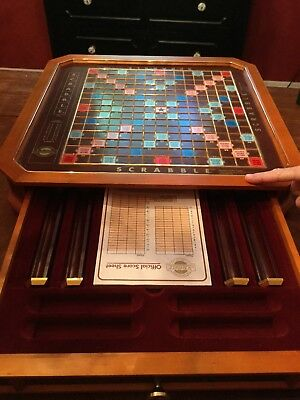 Franklin Mint Collector's Edition Scrabble Wooden Game w/Gold Plated Tiles etc.