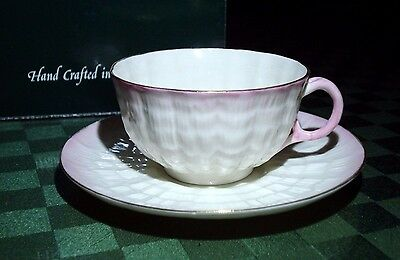 Belleek Ireland Parian China Tridacna Tea Cup And Saucer Mib