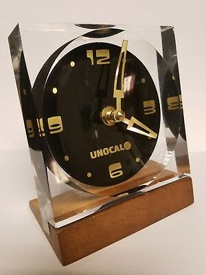 Chunky LUCITE Acrylic UNOCAL UNION 76 Walnut Advertising Clock Sign MCM Orb SALM