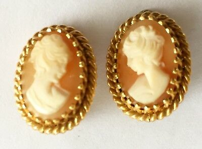 VINTAGE VICTORIAN 12k GOLD FILLED CAMEO EARRINGS Signed