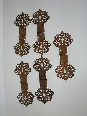 Vintage Ornate Brass Furniture Hinges