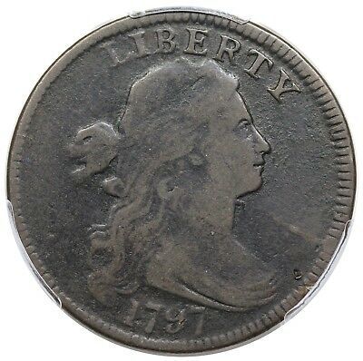 1797 Draped Bust Large Cent, Reverse of '97, Stems, S-126, R.3, PCGS VG10