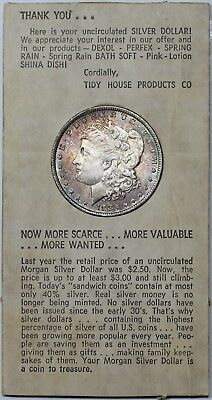 1883-O Morgan Dollar, toned BU, in 1960's Tiny House Products advertisement