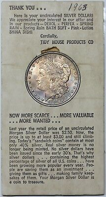 1884-O Morgan Dollar, toned BU, in 1960's Tiny House Products advertisement