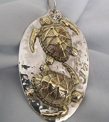 """""""wayamba"""" Turtle Dreaming Huge Sterling Silver And Brass Relief Pendant"""