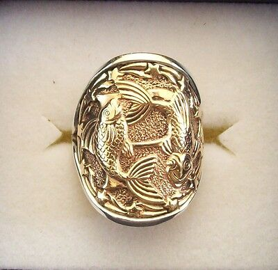 """Zodiac Astrological Star Sign Ring.""""pisces"""" Handmade In Sterling Silver & Bronze"""