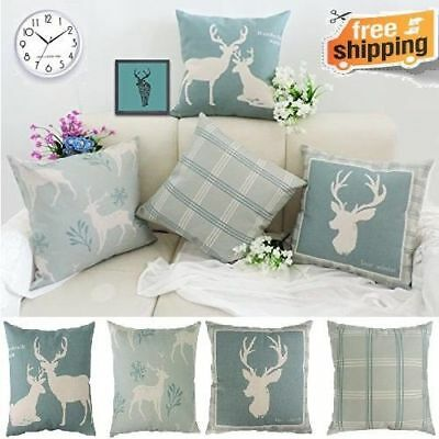 Holiday Reindeer Throw Pillow Covers Cushion 4Set Cotton Linen Invisible Zipper