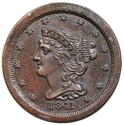 19th century electrotype imitation of a proof 1841 Braided Hair Half Cent