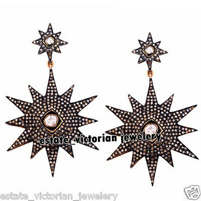 Retro Vintage 4.71Cts Natural Rose Antique Cut Diamond Silver Earring Jewelry