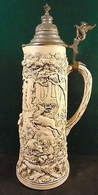 Antique 2L. Vintage German Hunting Scene Stoneware Tankard w/Griffin Thumb Lever