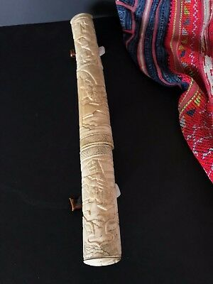 Antique Japanese Tanto Knife / Samurai Dagger in Hand Carved Sheath
