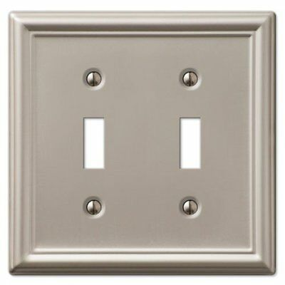 Decorative Wall Switch Outlet Cover Plates Brushed Nickel, Double Toggle
