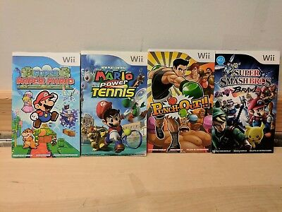 Lot Of Four Nintendo Wii Manuals - Ssbb, Punch-Out, Mario Tennis - Free Us Ship!
