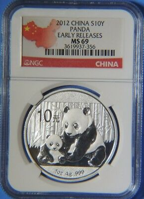 2012 China Silver Panda 10 Yuan Coin Early Releases 1oz .999 NGC Graded MS69