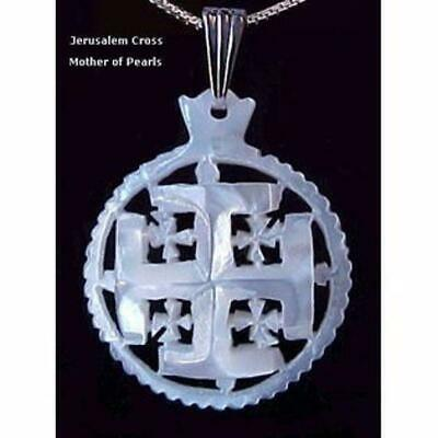 Jerusalem Cross Mother Of Pearls Pendant from Bethlehem The Holy Land Mother Day