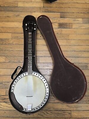 Vintage 1950's Kay Tenor Banjo With Original Case And Book