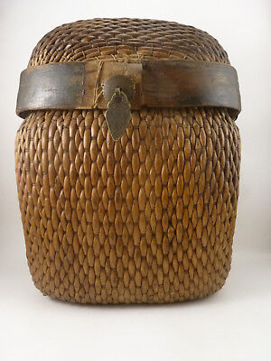 Antique Chinese Heavy Woven Rattan Lidded Rice Basket