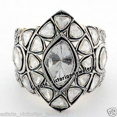 Retro 3.65cts Natural Solitaire Antique Cut Diamond Silver Cocktail Ring Jewelry