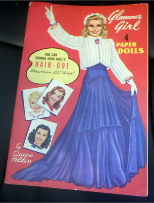 Vintage Paper Doll Book Glamour Girl Paper Dolls Hair Do Queen Holden 1942 Uncut