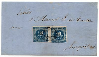 """Peru - 1858 -  Cover Puno To Arequipa With 2 """"dinero"""" Deep Blue"""