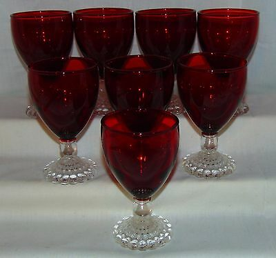 """8 Anchor Hocking BUBBLE RED *4 oz- 4 1/4"""" JUICE GOBLETS*"""