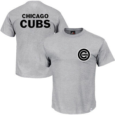 Chicago Cubs Majestic MLB Gamily Logo T-Shirt - Grey