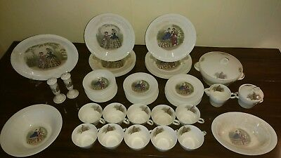 Vintage Victory By Salem China Co./godey Plates And Bowl