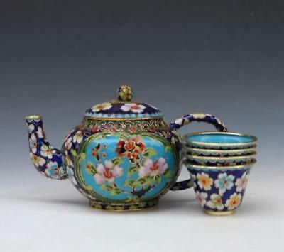 Delicate Decorative Chinese Cloisonne Carved Flower Tea Pot Cup Set