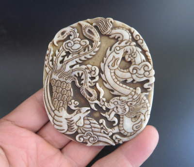 Old china jade Hand-carved Dragon and phoenix Amulet Pendant B430